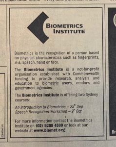 Our 2001 notice in The Australian newspaper
